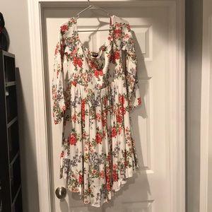 Torrid White Floral Off the Shoulder Dress